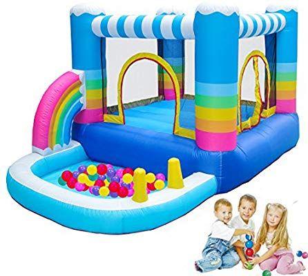 Amazon Com Meiouka Rainbow Inflatable Bounce House Jumper With