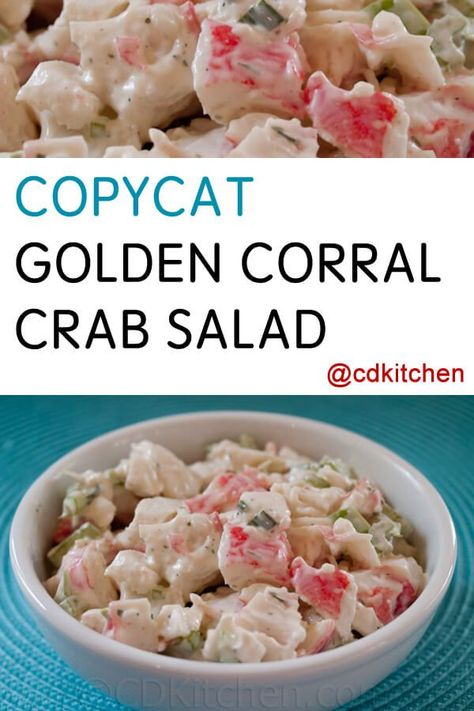 Copycat Golden Corral Crab Salad – Samantha Taylor-Askew Copycat Golden Corral Crab Salad The Golden Corral is known for several of their buffet items but the most reques Crab Meat Salad, Crab Pasta Salad, Shrimp And Crab Salad, Lobster Salad, Imitation Crab Recipes, Imitation Crab Salad, Sea Food Salad Recipes, Crab Meat Recipes, Shrimp Salad Recipes