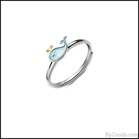 Lovely Little Whale Dolphin Fish Girl Animal Open Ring #fish #ring #whale #dolphin