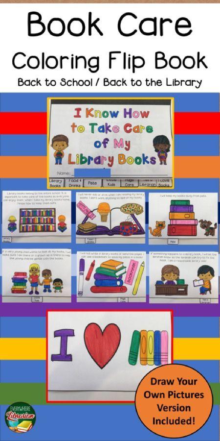 School Library Book Care Coloring Flip Book Primary Kindergarten Library Activities School Library Activities Book Care