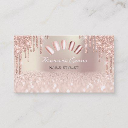 Spark Glitter Rose Spark Nails Artist Drips Appointment Card - blush pink gifts unique special diy custom