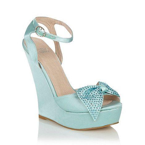 Debenhams - Faith Aqua Diamante Bow High Wedge Heeled Peep Toe Sandals