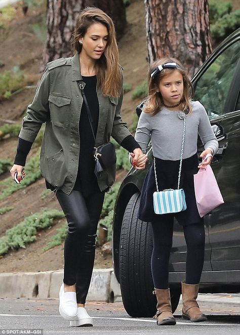 Jessica Alba dons tight leather pants to Beverly Hills Halloween bash The Sin City actress looked stunning in a pair of form-fitting black leather trousers as she took her eight-year-old daughter to a Halloween party in Beverly Hills on Sunday.