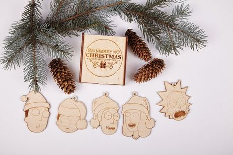rick and morty christmas ornaments rick and morty art holiday gift rick and
