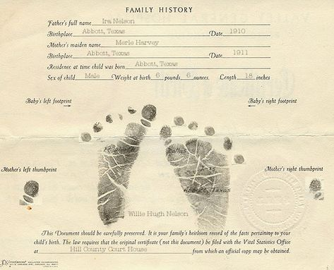WillieS Birth Certificate  Younger Willie Nelson
