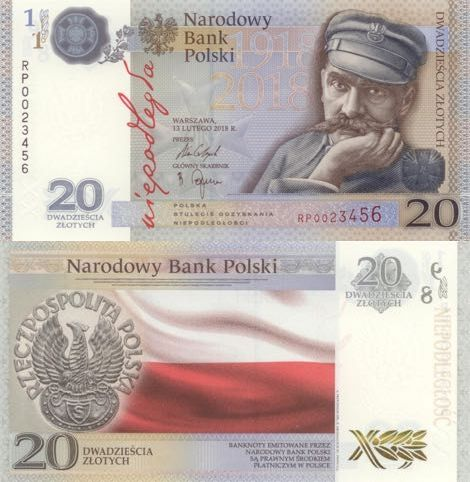 Poland 20 Zlotych 2018  Commemorative notes to commemorate the 100th