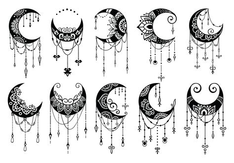 Crescent Moon Decoration Collection (Graphic) by AllmoStudio · Creative Fabrica Moon Drawing, Mandala Drawing, Moon Mandala, Mandala Art, Mandala Tattoo Back, Cute Tattoos, Body Art Tattoos, Moon Design, Design Web
