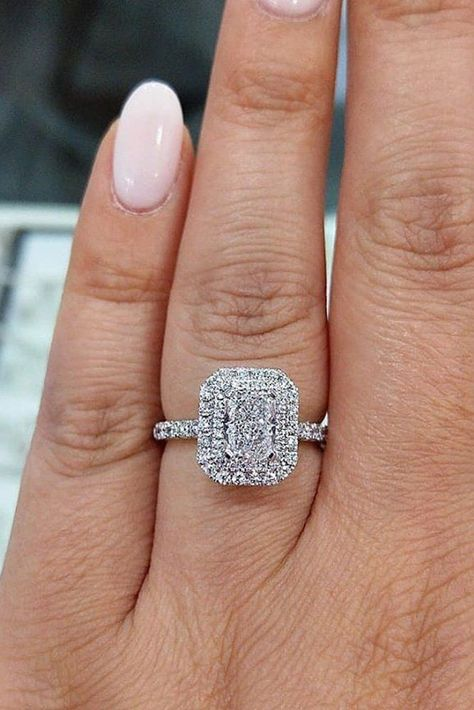 57 Eye-Catching Emerald Cut Engagement Rings ❤ emerald cut engagement rings double halo white gold #weddingforward #wedding #bride