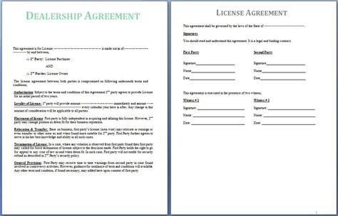 A Dealership Agreement is signed between two parties; the supplier - mutual understanding agreement format