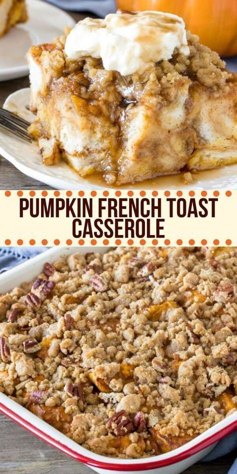 Pumpkin French Toast Casserole can easily be prepped the night before and baked the next morning. It feeds a crowd, has a delicious pumpkin flavor, and a cinnamon streusel topping for a little crunch. recipe for a crowd Pumpkin French Toast Casserole Pumpkin French Toast, French Toast Bake, Overnight French Toast Casserole, Baked French Toast Overnight, Breakfast Casserole French Toast, Sausage Breakfast, Breakfast Cassrole, Christmas Breakfast Casserole, Crockpot French Toast