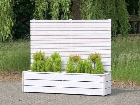 Pflanzkübel   Blumenkasten Holz mit Sichtschutz Weiß Deckend - mobiler sichtschutz garten