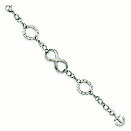 Primal Steel Stainless Steel Polished Infinity Symbol And Anchor