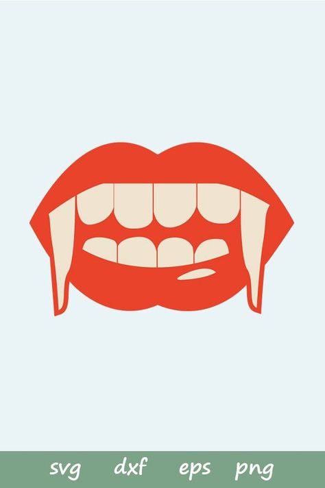 Photo of Vampire Biting Lips (SVG, PDF, EPS Vector Image *Perfect for Cricut & Silhouette)