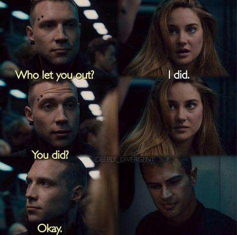 ~Divergent~ ~Insurgent~ ~Allegiant~ My Life Divergent Memes, Divergent Hunger Games, Divergent Fandom, Divergent Trilogy, Divergent Insurgent Allegiant, Tfios, Divergent Movie Scenes, Divergent 2014, Insurgent Quotes