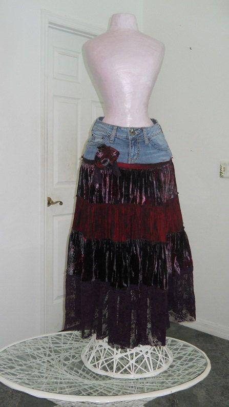 Cerise wild cherry bohemian jean skirt ruched velvet vintage purple lace burgundy red rose Renaissance Denim Couture