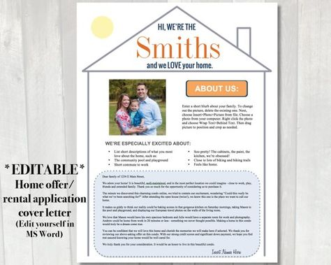Editable Home Offer Letter Customizable Cover Letter For House