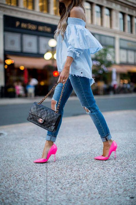 Trending: Denim on Denim. - Mia Mia Mine. Shopbop Top, Levi's Jeans, Kurt Geiger Hot Pink Heels, Chanel Bag
