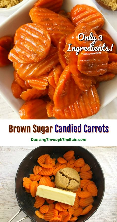 These Brown Sugar Candied Carrots are one of those Thanksgiving side dishes or Christmas side dishes that you can make at the last minute! Using frozen wavy carrots, anyone can make this super easy side! #glazedcarrots #brownsugarcarrots
