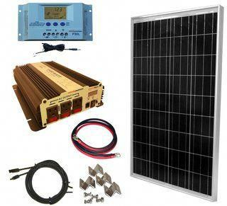 Complete 100 Watt Solar Panel Kit With 1500w Vertamax Power Inverter For 12 Volt Battery Systems Sol In 2020 Solar Panel Kits 100 Watt Solar Panel Solar Energy Panels