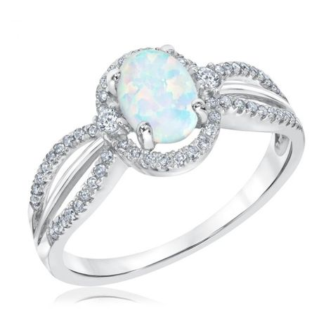 Australian Opal and Diamond Ring 1/5ctw