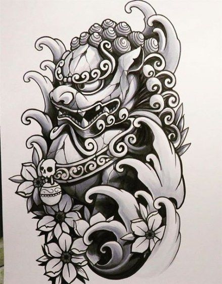 40 Ideas Tattoo Lion Sleeve Foo Dog Foo Dog Tattoo Foo Dog Tattoo Design Japanese Tattoo Designs