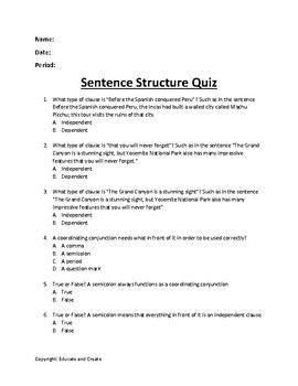 Sentence Structure Quiz Sentence Structure Teaching Sentence