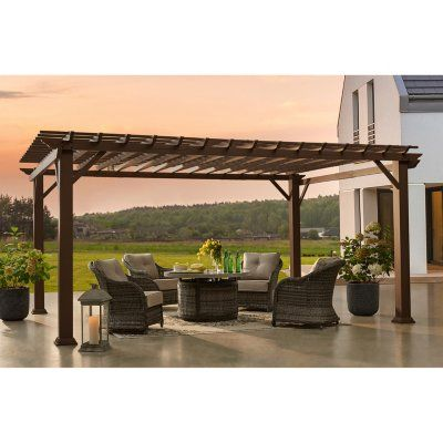 Member S Mark 12 X 16 Double Lintel Pergola In 2020 Pergola Cedar Pergola Backyard
