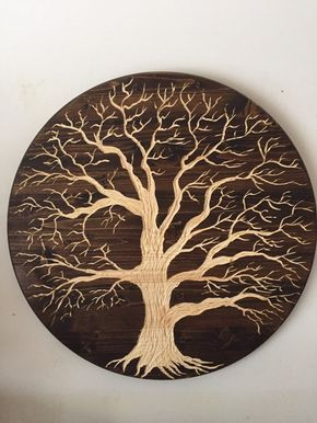 Large Oak Tree Of Life 24in Across Wood Carved By Jdecreations