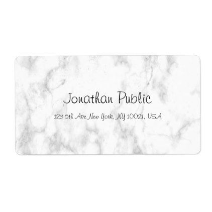 Elegant White Marble Script Luxury Trendy Shipping Label Zazzle Com Business Template Microsoft Word Templates Labels