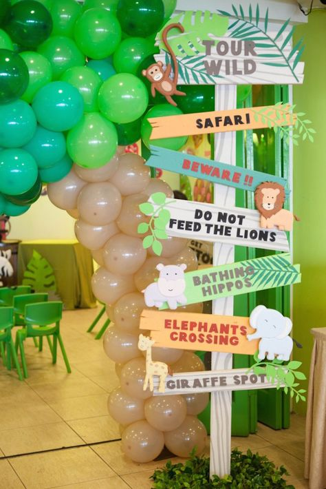 On the hunt for a darling animal safari birthday party? Kara's Party Ideas has the lions, tigers, and zebras for you! Check out all the adorable details! Jungle Theme Parties, Jungle Theme Birthday, Safari Theme Party, Safari Birthday Party, Baby Party, Animal Birthday, Birthday Ideas, Safari Theme Baby Shower, Jungle Theme Baby Shower