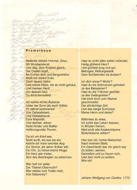 Prometheus Goethe Gedichte Gedichte Lyrik Und Zitate