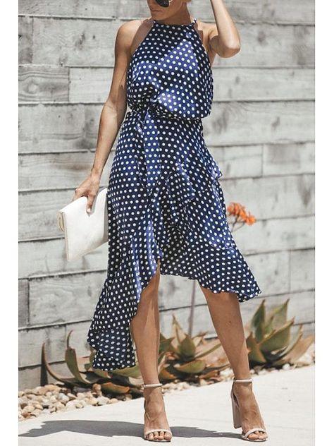 119e8f5204a41 Halter Asymmetric Hem Belt Dot Sleeveless maxi dress summer maxi dress  summer casual maxi dress summer beach maxi dress summer modest maxi dress  summer ...