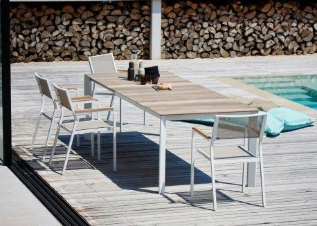 Table De Repas Extensible L 160 260 Cm En Aluminium Et Hpl Effet