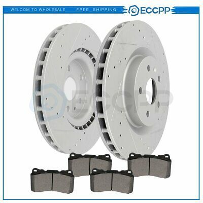 Ceramic Pads 2005 2006 2007 Ford Focus Front Drilled /& Slotted Brake Rotors