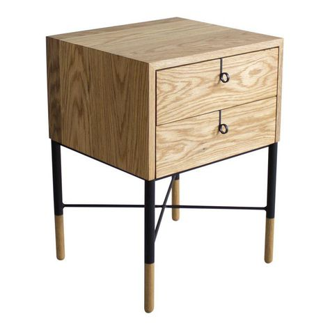 Phillip Nightstand Double Drawer Vintage Nightstand Side Tables