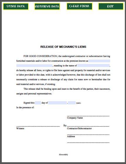 Release of Mechanicu0027s Liens Certificate Template Business - certificate of insurance template