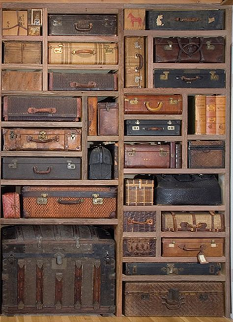 A cool way to use those old suitcases & trunks for storage but contained in a built-in shelving space! A cool way to use those old suitcases & trunks for storage but contained in a built-in shelving space! Vintage Suitcases, Vintage Luggage, Vintage Trunks, Antique Trunks, Vintage Travel, Vintage Suitcase Decor, Antiques Roadshow, Deco Design, Design Design