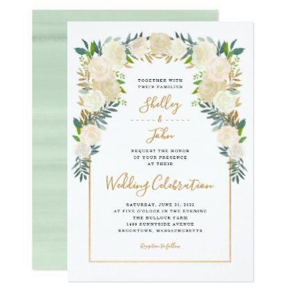Trendy White Peonies Wedding First Names Card Gold Wedding Gifts Customize Marriage Diy U Wedding Invitations Trendy Wedding Invitations Summer Wedding Diy