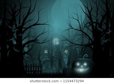 Happy Halloween Background And Scary Tree Pumpkin On