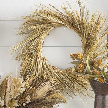 Wheat And Straw Stalks Artificial Wreath Brown 22 Inch Walmart Com Silk Wreaths Artificial Wreath Olive Branch Wreath
