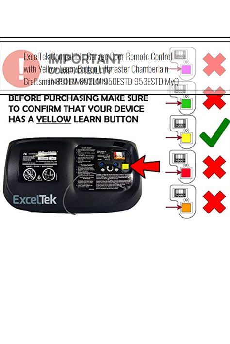 Exceltek Compatible Garage Door Remote Control With Yellow Learn Button Liftmaster Chamberlain Craft Garage Door Remote Control Garage Door Remote Garage Doors