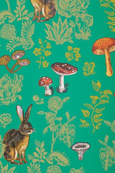 Natalie Lete for Anthropologie - Mushroom Forest Wallpaper