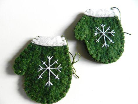 Handmade Christmas Wool Felt Ornament Snowflake on Mitten Set of 2 GREEN. $8.00, via Etsy.