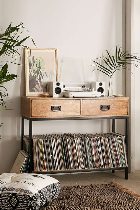 LPs Storage at Casper Industrial Wooden Console Urban Outfitters - ikea sideboard k amp uuml che