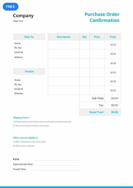 Purchase Order Confirmation Template Free Pdf Google Docs Excel Word Apple Numbers Apple Pages Pdf Template Net Quote Template Purchase Order Order Template