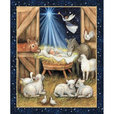 Christmas Quilt Fabric Panel - Nativity Barn - 100% Cotton Baby Jesus in  Manger with Animals and … | Christmas fabric panels, Nativity, Christmas  nativity