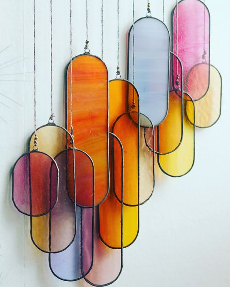 Sunset sun catcher window/wall decoration made of stained glass Deco Design, Glass Design, Stained Glass Art, Fused Glass, Interior Decorating, Interior Design, New Room, Decoration, Dream Decor