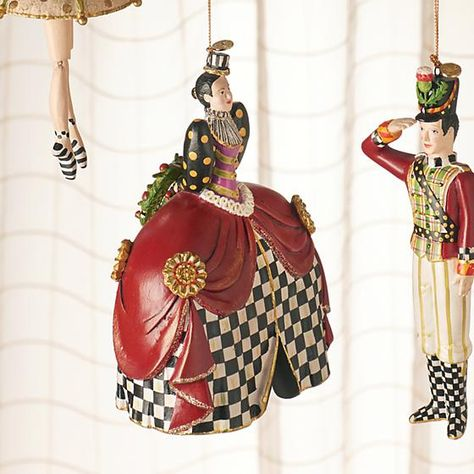The Nutcracker Ornament - Mother Ginger: If only Tchaikovsky had a costume designer as fanciful as MacKenzie-Childs. Our Nutcracker Ornament Collection breathes new life into the beloved classic by dressing Clara and company in our signature elements from the Soldier's thistle chapeau to the Mouse King's Courtly Check® ascot. This dream of a collection makes the perfect gift for a fan. Hang one from each chair for a holiday fete worth dancing about.