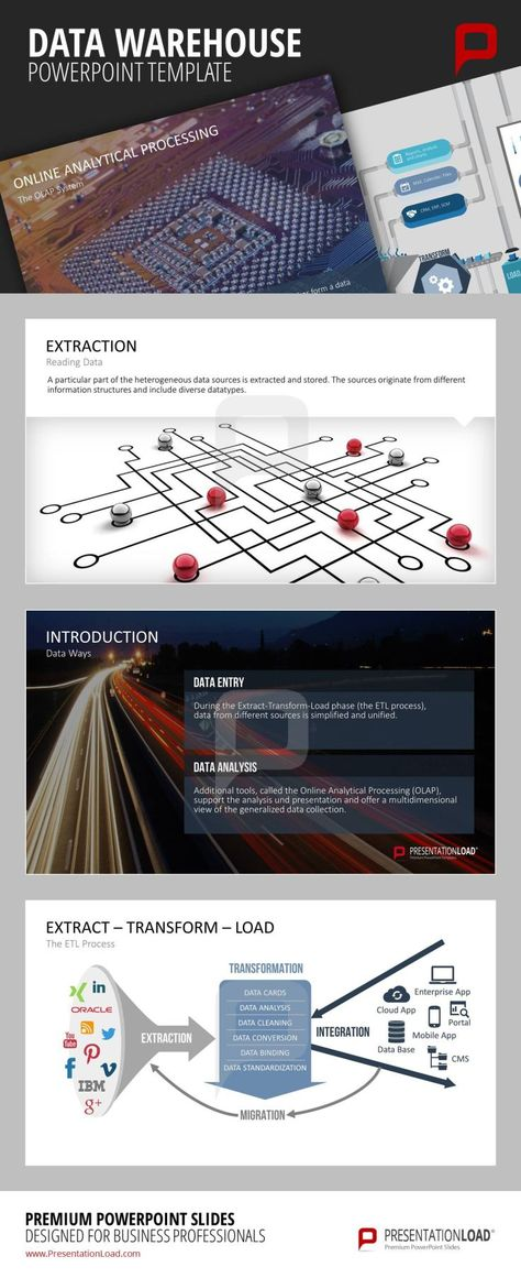 DATA WAREHOUSE PowerPoint Template With the help of the Data - data analysis template