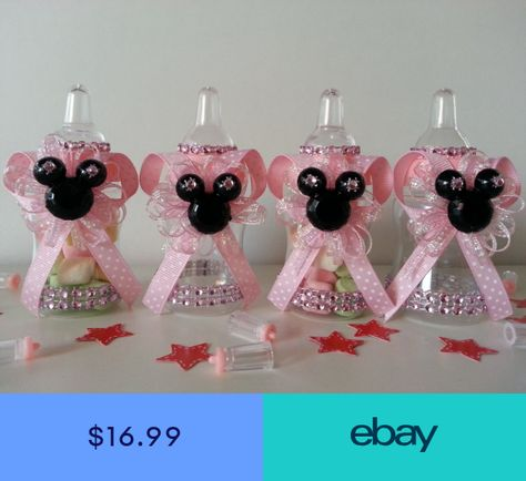 12 Minnie Mouse Fillable Champagne Bottles Baby Shower Favors Game Girl Birthday